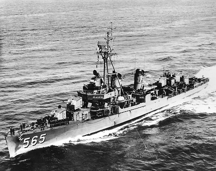 USS Smalley (DD-565), underway, c. the mid-1950s