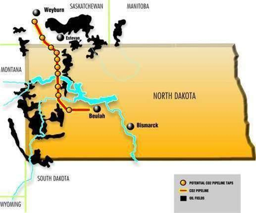 International map of pipeline's cross border route from Beulah, North Dakota, USA to Weyburn, Saskatchewan, Canada