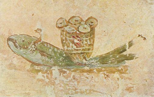 Eucharistic bread and fish (the catacombs of Saint Callistus)