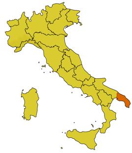 Collocazione del Salento in Italia
