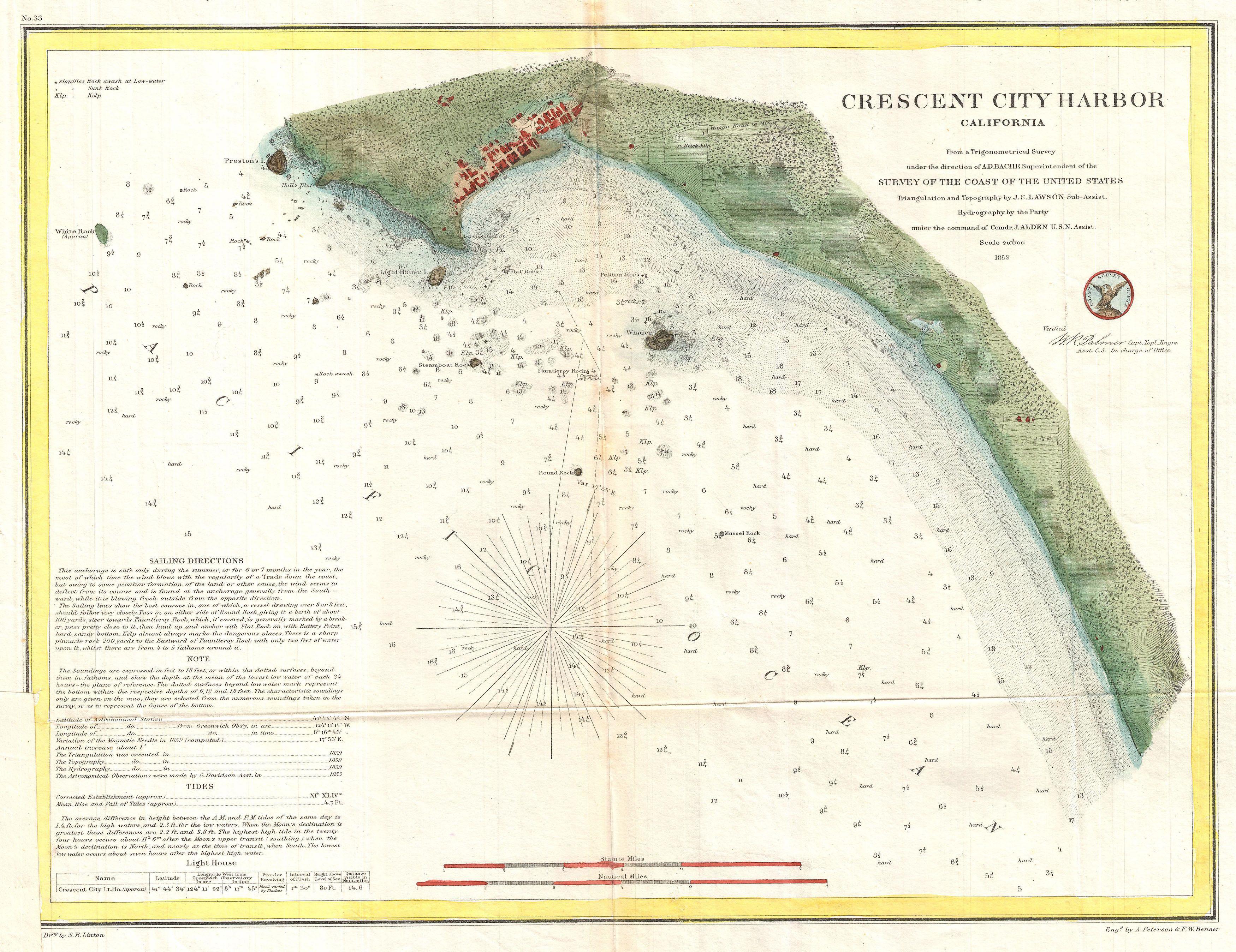 Moon Chart: 1859 U.S. Coast Survey Map or Nautical Chart of Crescent City ,Chart