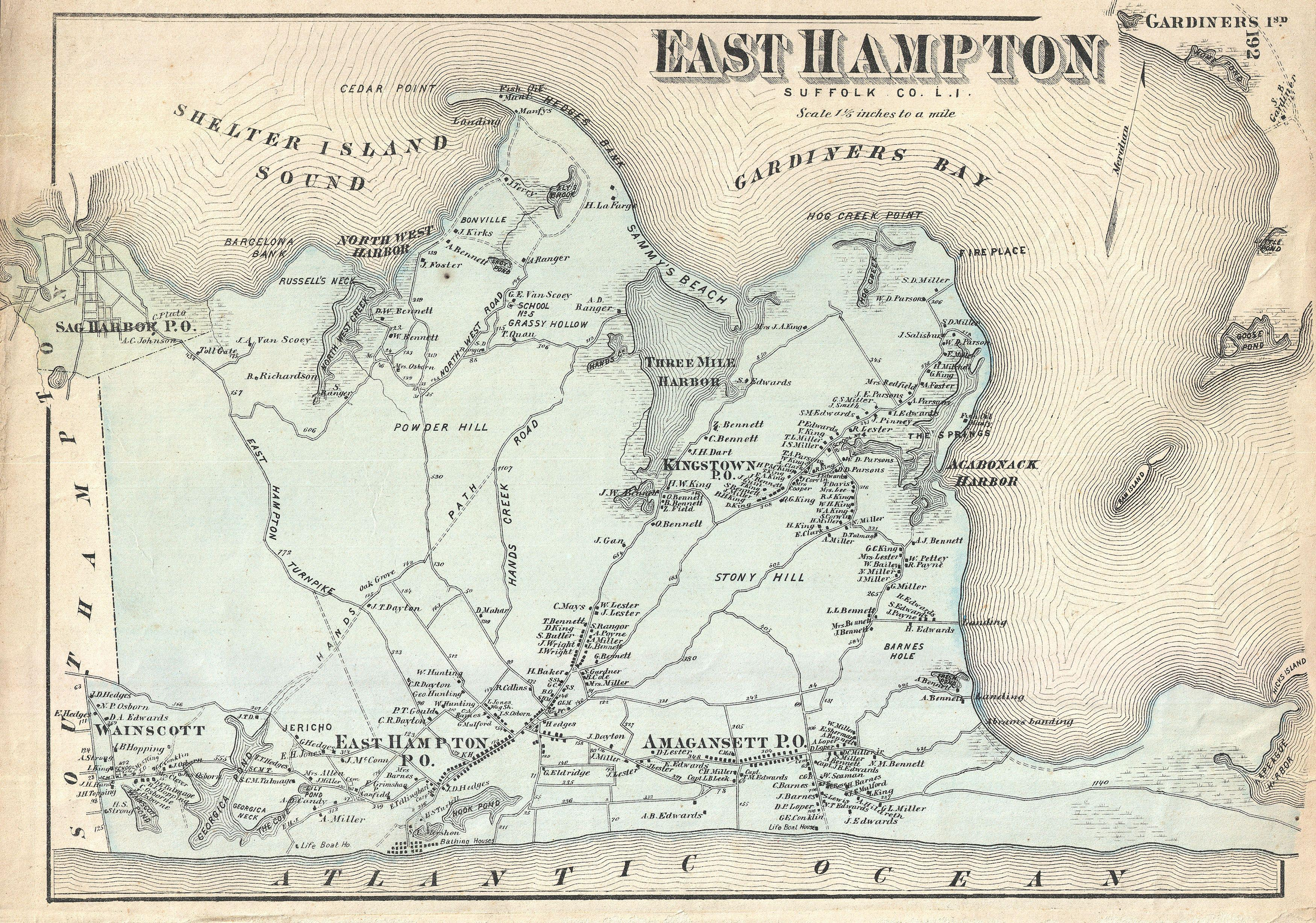 File1873 Beers Map of East Hampton Long Island New York