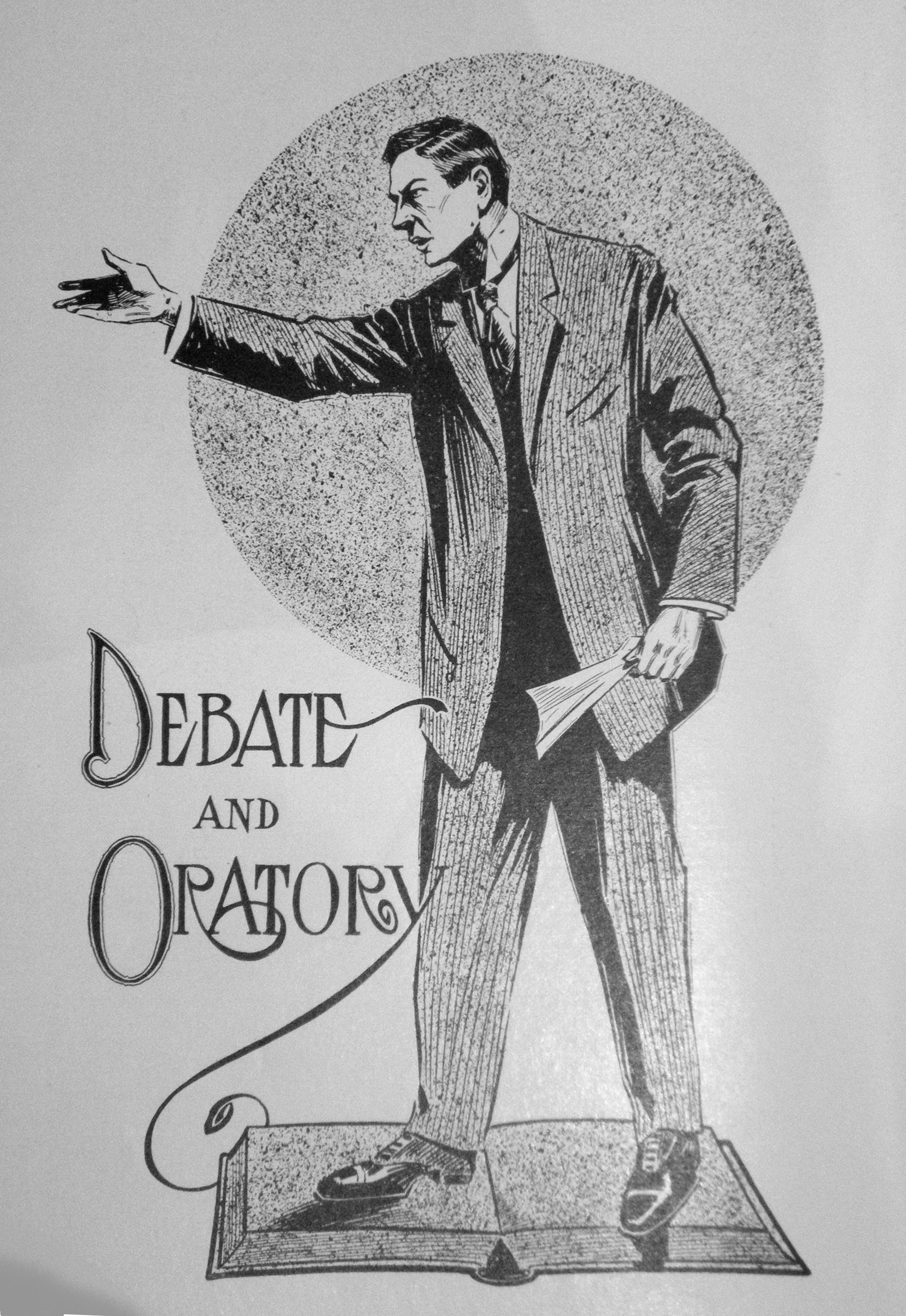 "Pencil drawing of a debater with the words ""debate and oratory"" at the bottom"
