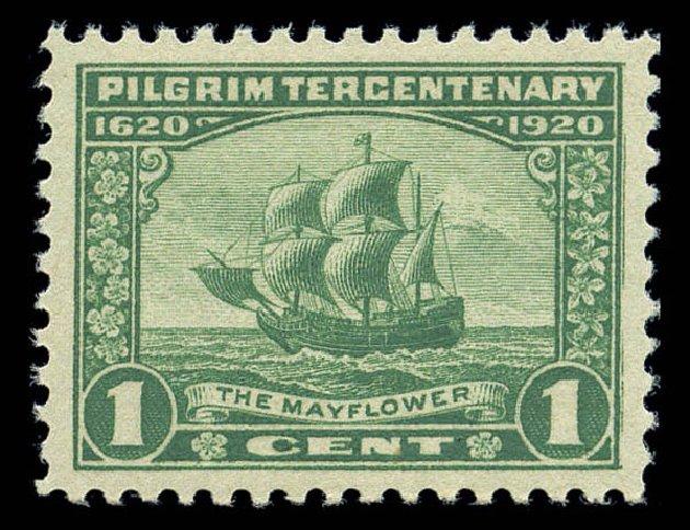 1920USstamp1centPilgrimTercentenaryTheMayflower