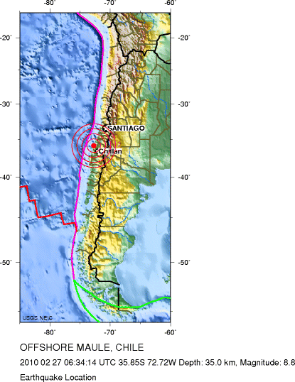 Map of Chile with the epicentrer location of the earthquake