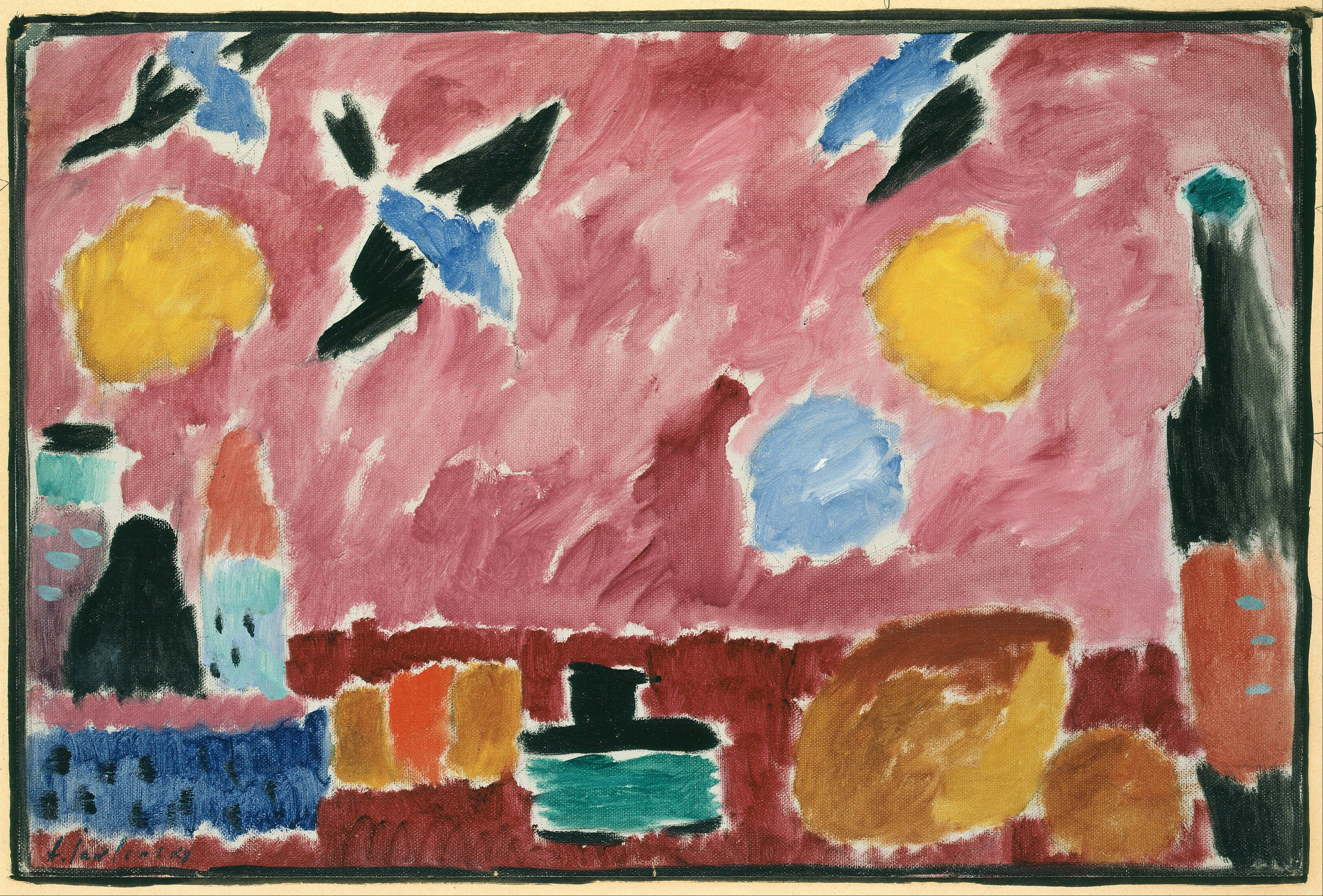 Filealexei Jawlensky With Red Swallow Patterned Wallpaper