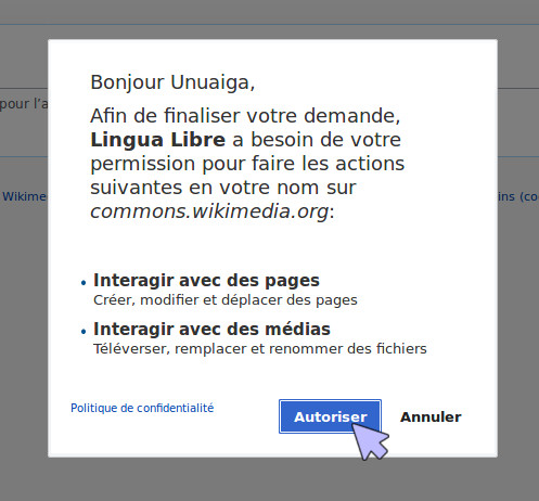 Screenshot of the dialog box to allow Lingua Libre to upload on your behalf on Wikimedia Commons