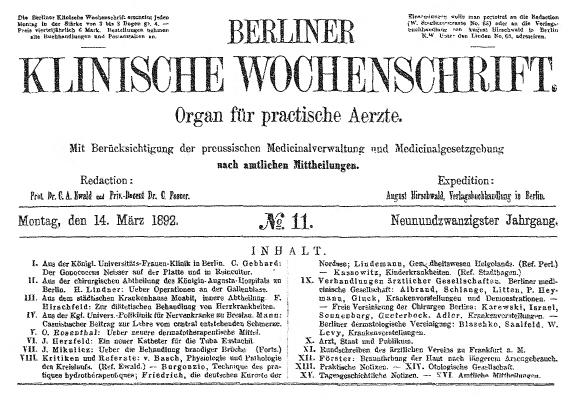 Berliner Klinische Wochenschrift – Wikipedia