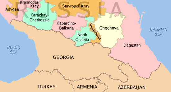 Georgia and Russian Territories Just North of Georgia