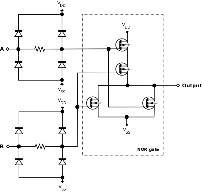 Unbuffered CMOS two input NOR gate
