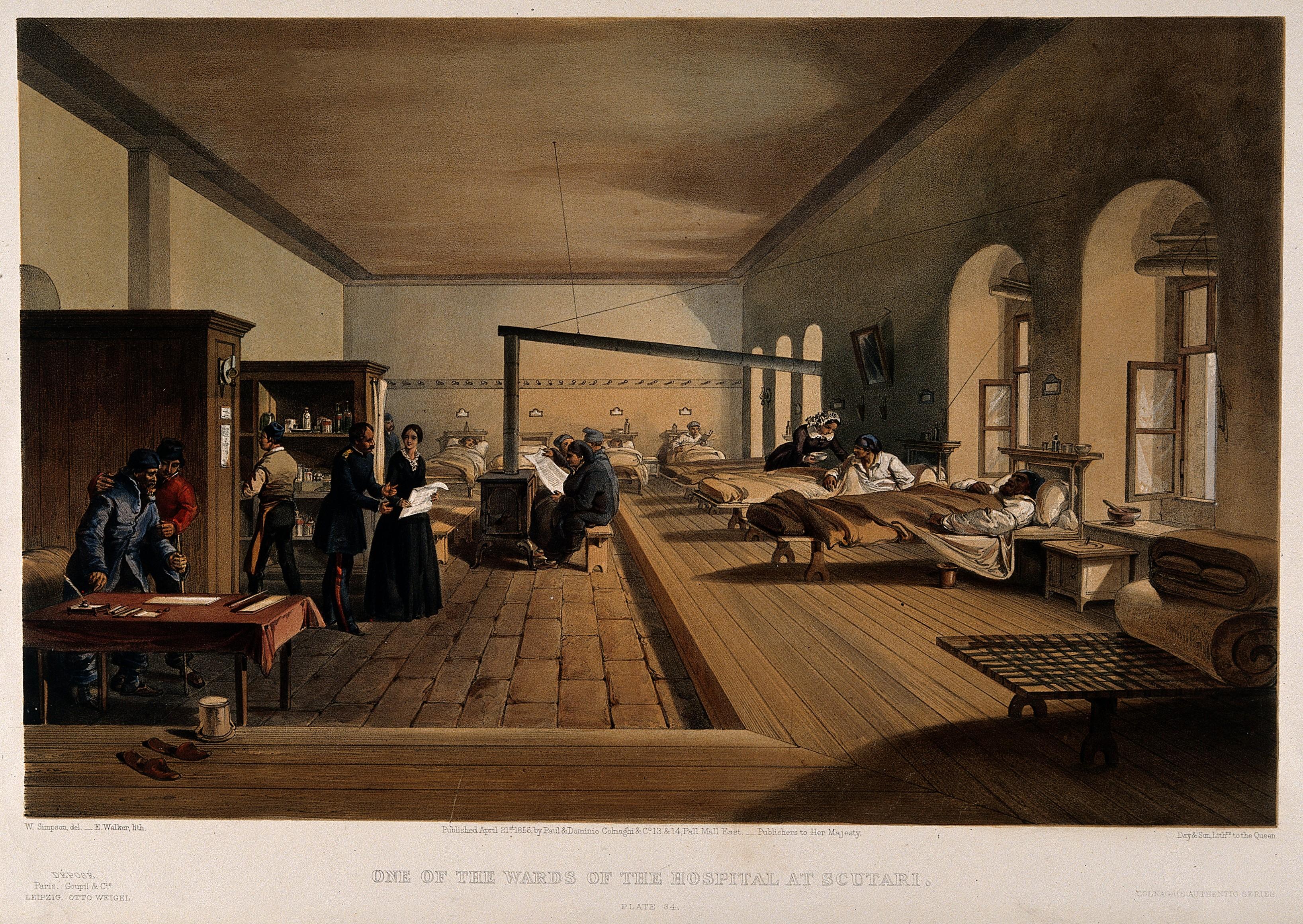 File:Crimean War; Florence Nightingale at Scutari Hospital. Colou ...