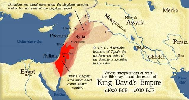 Различные интерпретации того, что Библия говорит о размерах Израильского царства времён Давида (1000—930г. дон.э.)