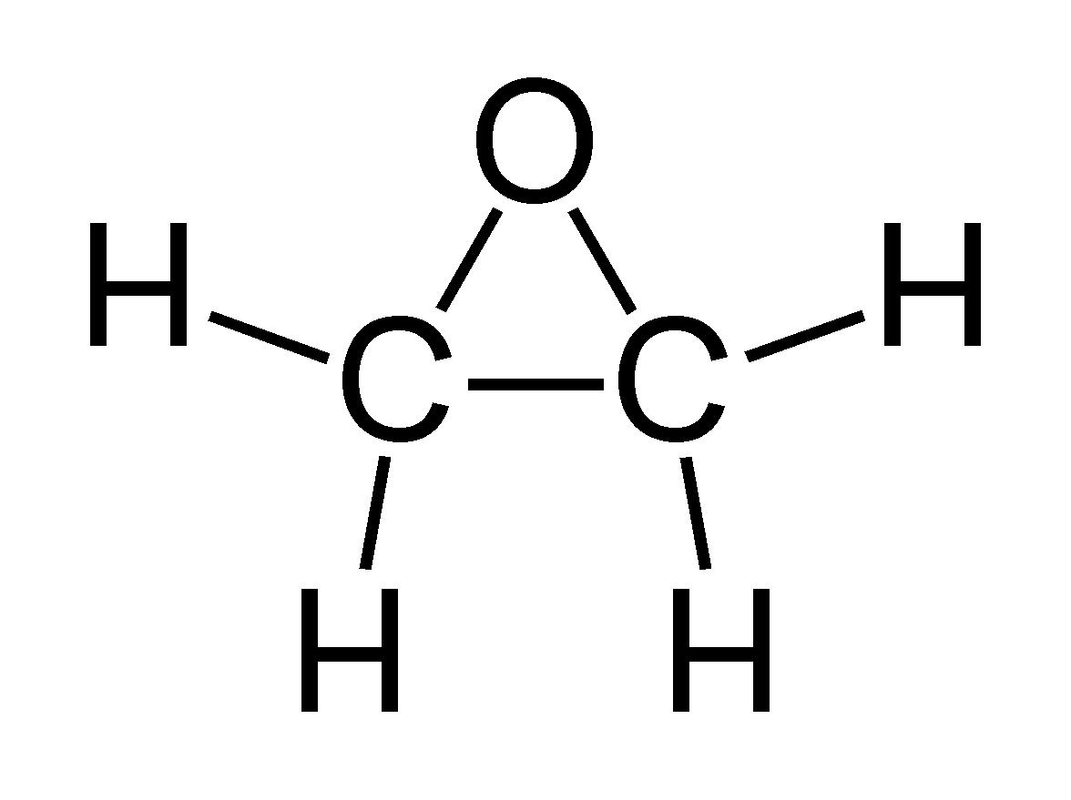 Structural formula for ethylene glycol