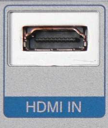 A HDMI Type A receptacle connector on a device with the words HDMI IN below it.