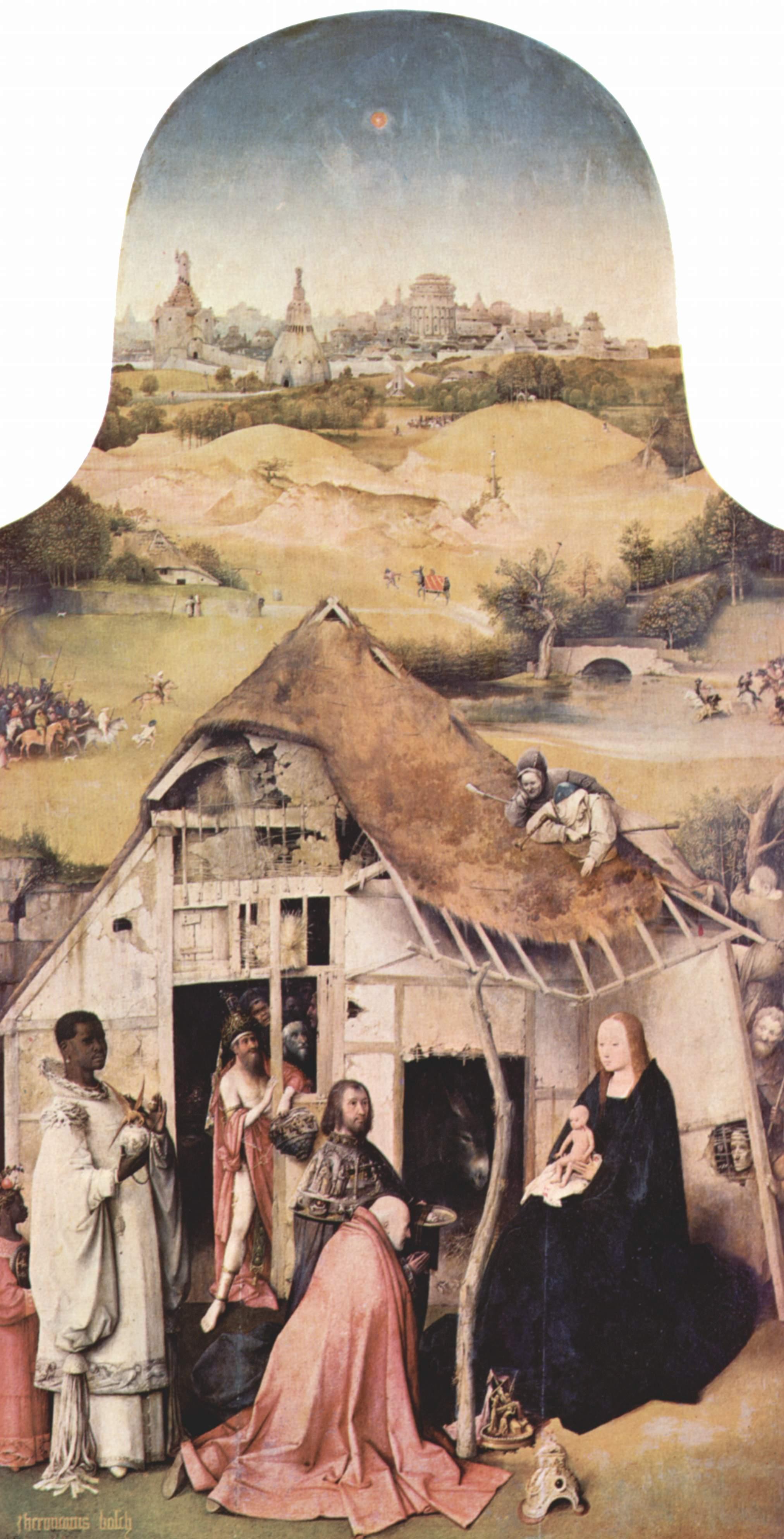 Adoración de los Magos. El Bosco. Museo del Prado. Imagen de Wikimedia Commons.