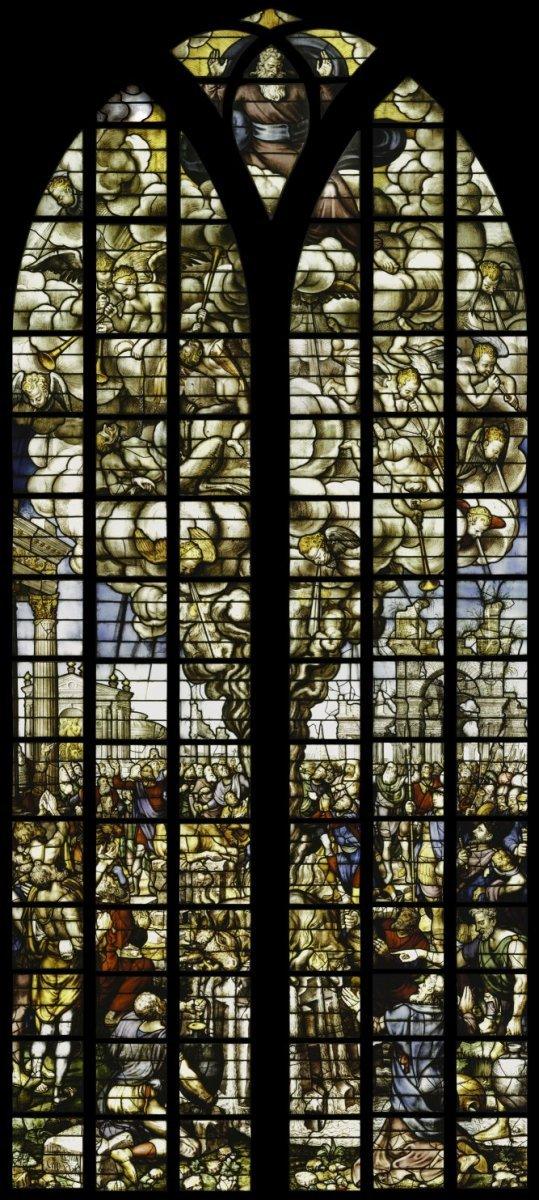 bestandinterieur gebrandschilderd glas nr 23 bovenste gedeelte de offerande van