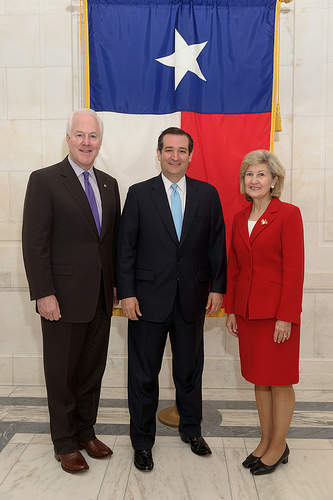 Cruz in 2012 with his predecessor-to-be (Sen. Hutchison at right) and his future fellow senator from Texas (Sen. Cornyn at left) John Cornyn, Ted Cruz and Kay Bailey Hutchison.jpg