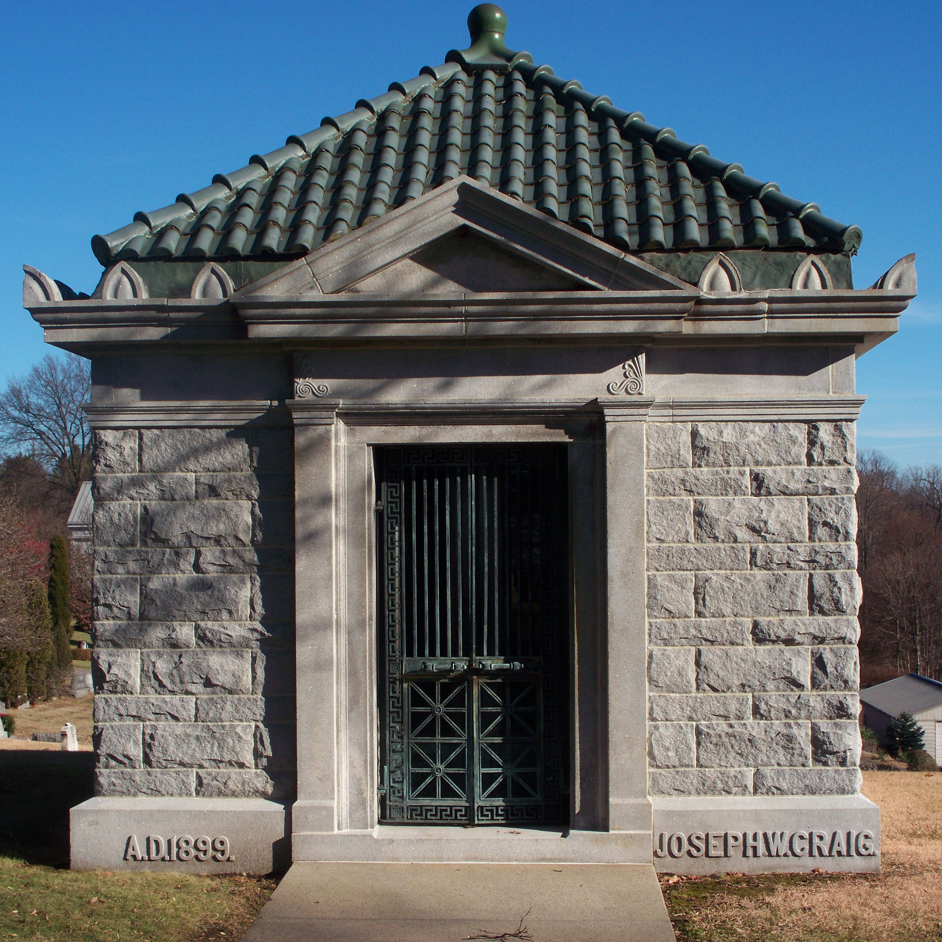 The green color of the tile almost perfectly matches the verdigris of the bronze doors; one wonders whether that effect was intended or a happy accident. & Sewickley Cemetery | Pittsburgh Cemeteries Pezcame.Com