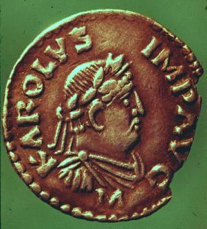 A 9th century coin with King Charles's image