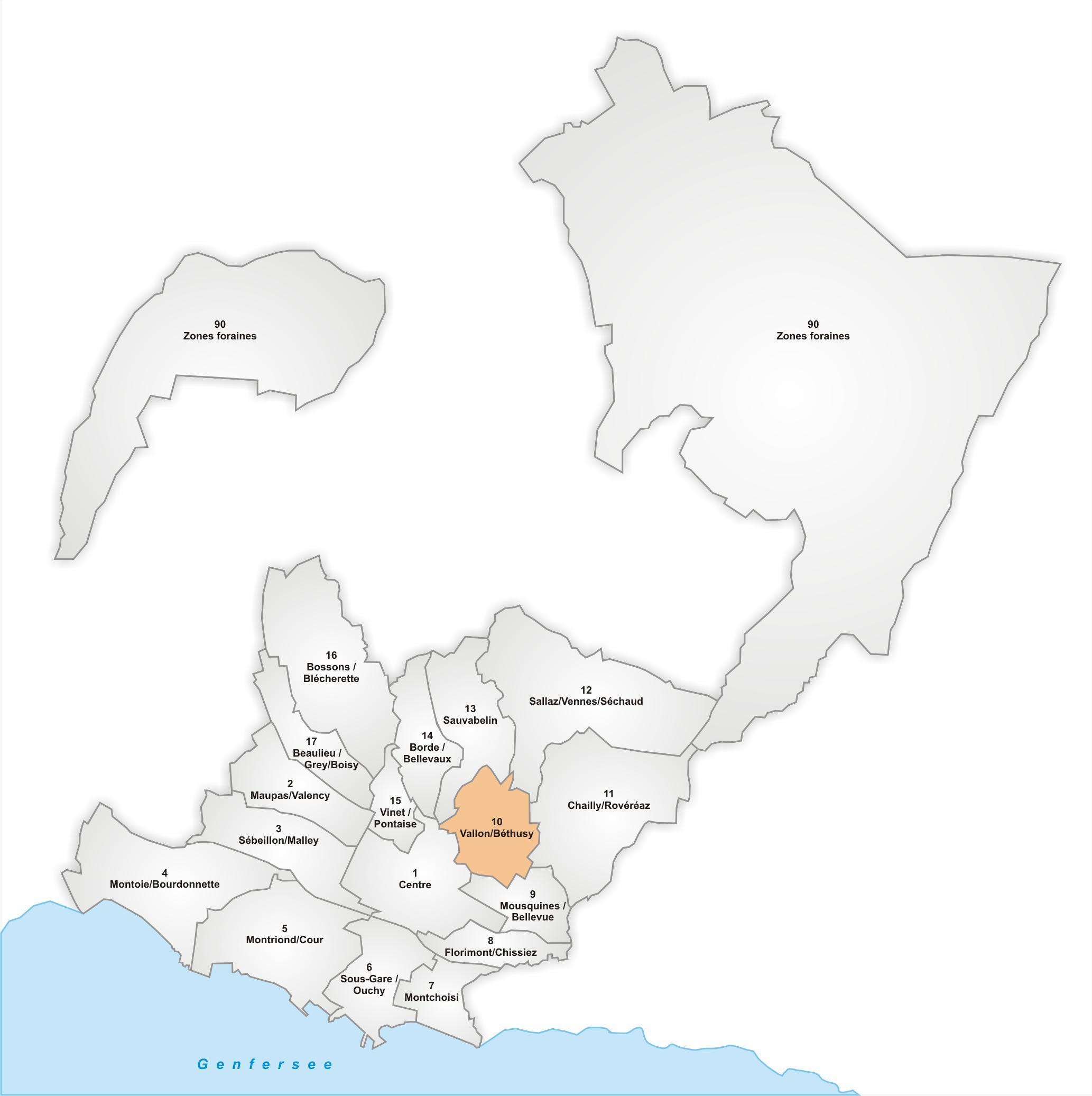 Lage des Stadtteils Vallon/Béthusy