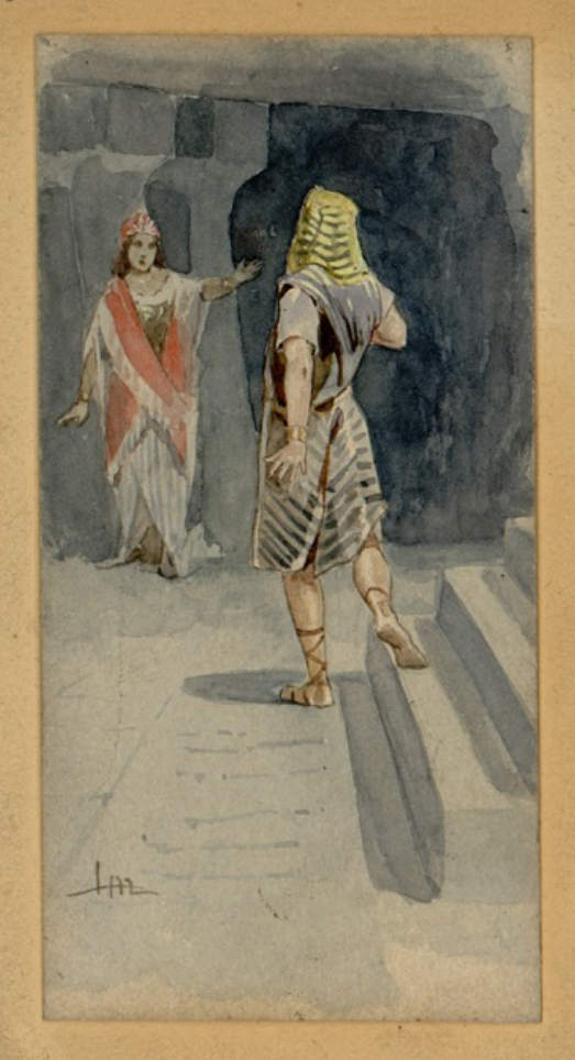 Radames (Giuseppe Fancelli) and Aida (Teresa Stolz) in act 4, scene 2 of the 1872 La Scala European premiere (drawing by Leopoldo Metlicovitz) Leopoldo Metlicovitz - Aida- Act IV Scene 2.jpg