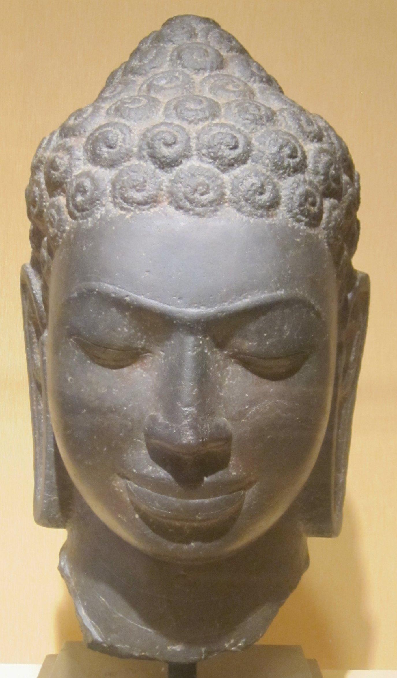 File:Limestone head of Buddha from Thailand, Mon Dvaravati ...