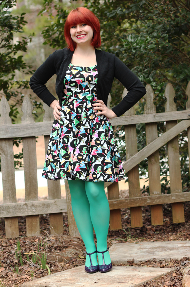 Filemartini Novelty Print Retro Dress With Light Green Tights A
