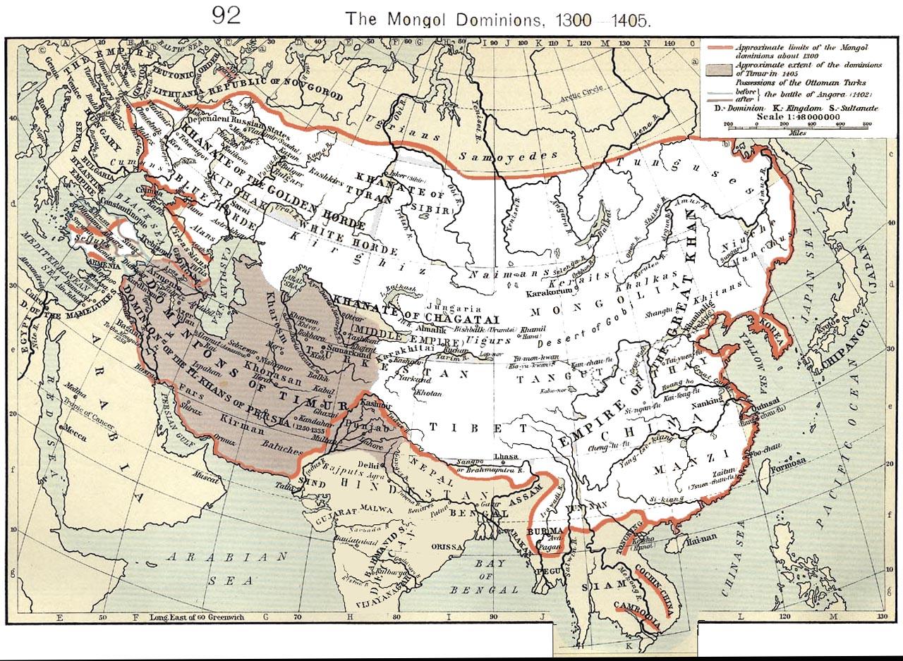 1300年以后元朝及其汗国的大致版图。其中西亚深灰色部分为后来后蒙古势力建立的帖木儿帝国。(公有领域)