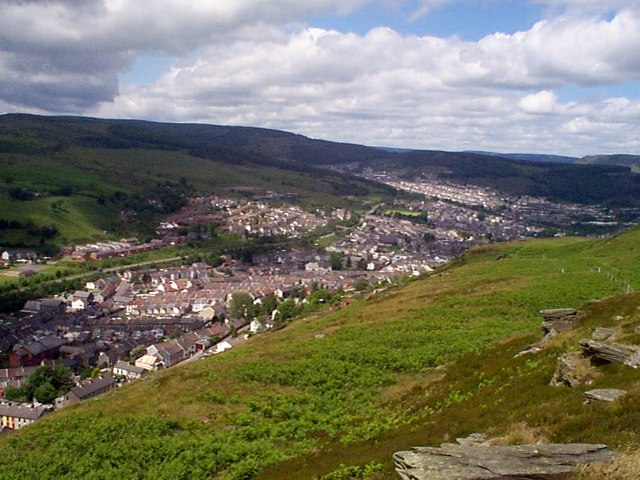 Mynydd Y Dinas to Clydach Vale with Tonypandy and Pen y Graig in the fore ground