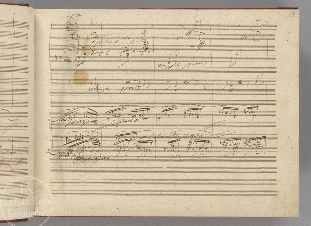 A page (leaf 12 recto) from Beethoven's manuscript. Catholic monks developed the first forms of modern Western musical notation in order to standardize liturgy throughout the worldwide church,[3] and an enormous body of religious music has been composed for it through the ages. This led directly to the emergence and development of European classical music, and its many derivatives. The Baroque style, which encompassed music, art, and architecture, was particularly encouraged by the post-Reformation Catholic Church as such forms offered a means of religious expression that was stirring and emotional, intended to stimulate religious fervor.[4]
