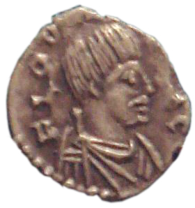 "Coin of Odoacer, Ravenna, 477, with Odoacer in profile, depicted with a ""barbarian"" moustache. Odovacar Ravenna 477.jpg"