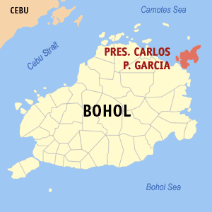 Map of Bohol showing the location of Pres. Carlos P. Garcia