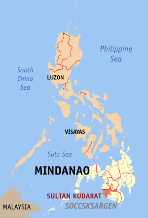 Мапа на Филипините со факти за Султан Кударат highlighted
