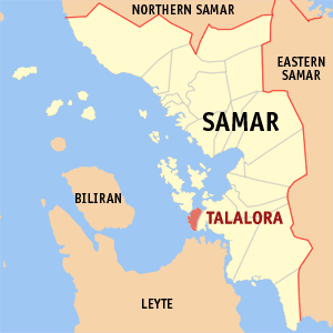 Map of Samar showing the location of Talalora