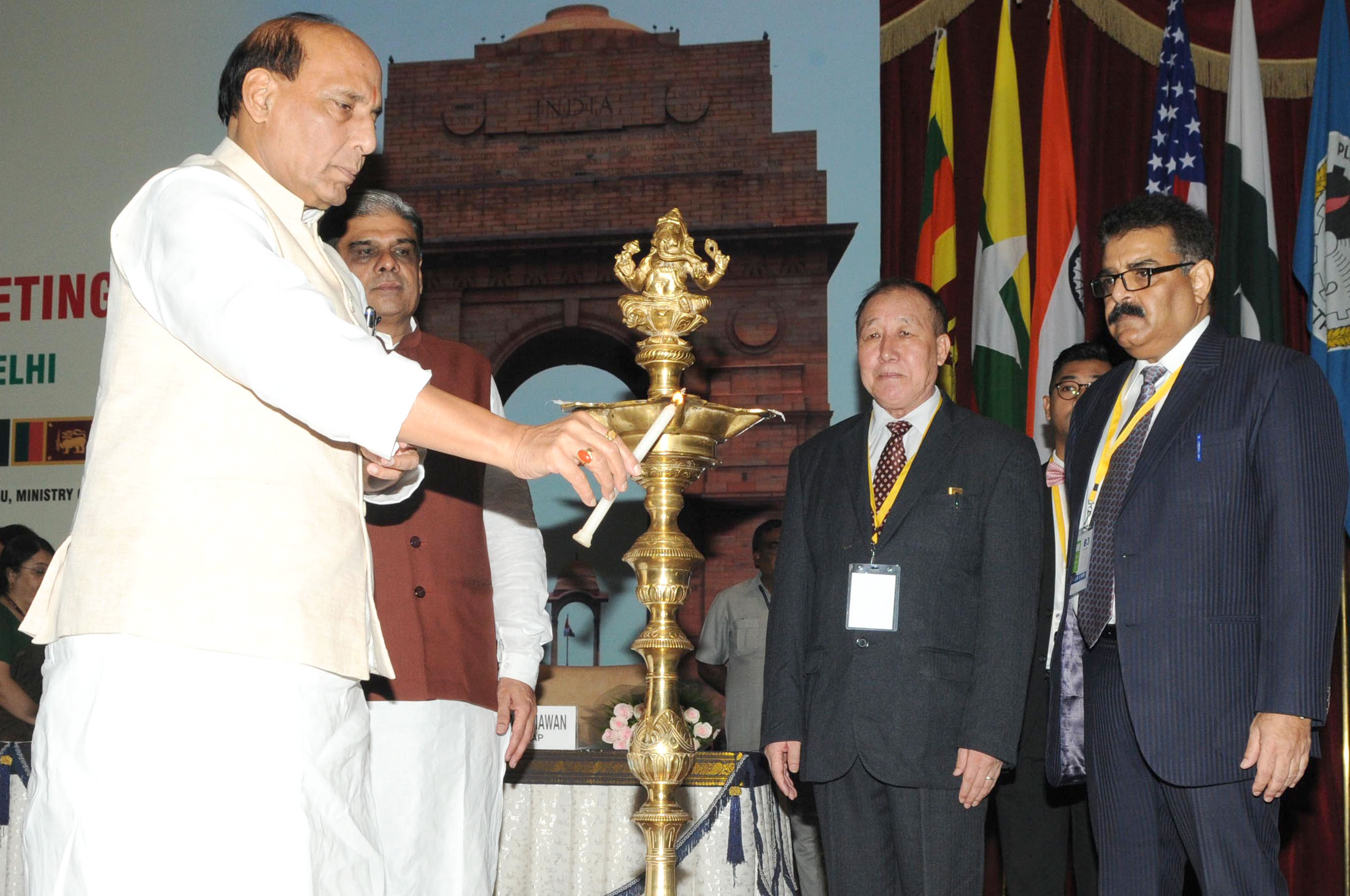 File:Rajnath Singh lighting the lamp to inaugurate a three-day