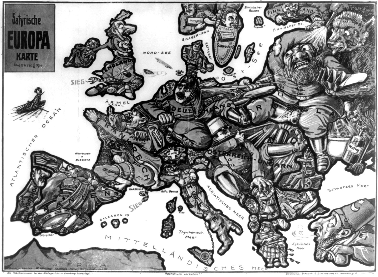 File Satirical Map Of Europe 1914 Jpg Wikimedia Commons