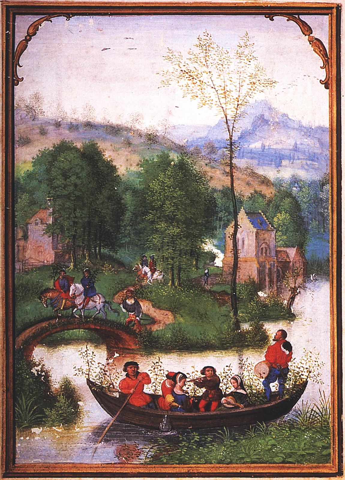 Variante der Maifahrt: Bootstour junger Leute mit Musik inmitten grüner Landschaft. Simon Bening, 1. Hälfte 16. Jh. München, StB, cod. lat. 23638, fol. 6v.