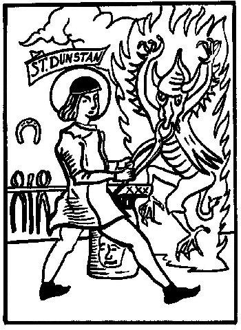 Dunstán utilizando sus tenazas de herrero para liberarse del diablo.
