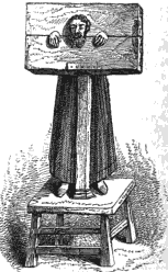 A pillory, illustration from Ellis's Observations on Popular Antiquities (1842). The pillory.png