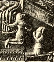 Tvrtko and his brother Vuk on Saint Simeon's chest (detail of the scene depicting Stephen II's death)