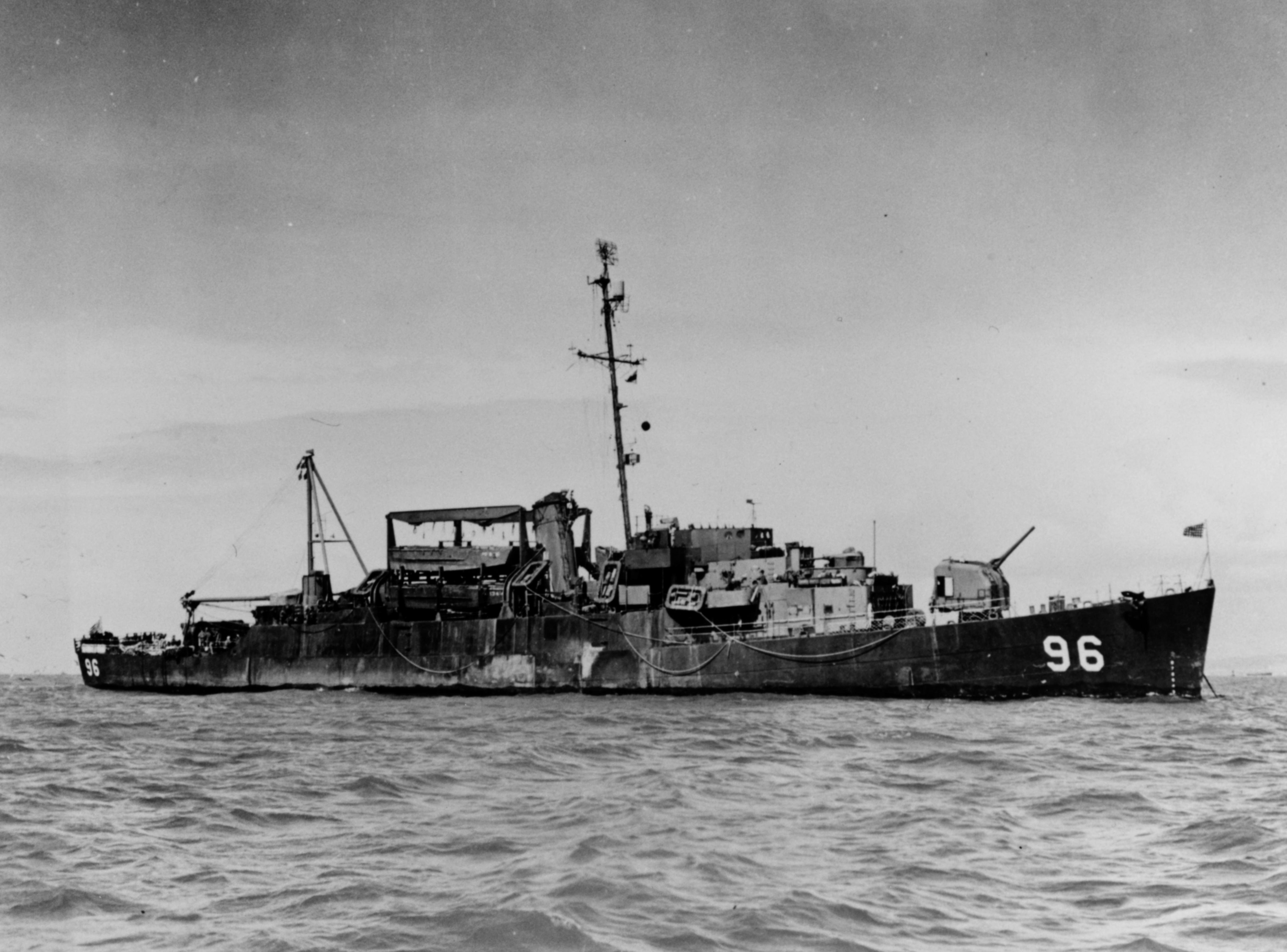 USS Ray K. Edwards (APD-96) at anchor in San Francisco Bay, circa in 1945 (NH 79799).jpg