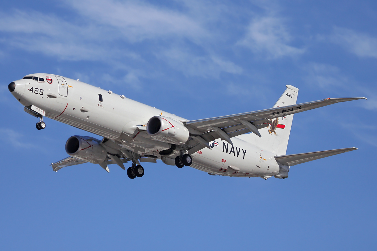 US Navy P-8 Poseidon taking off at Perth Airport.jpg