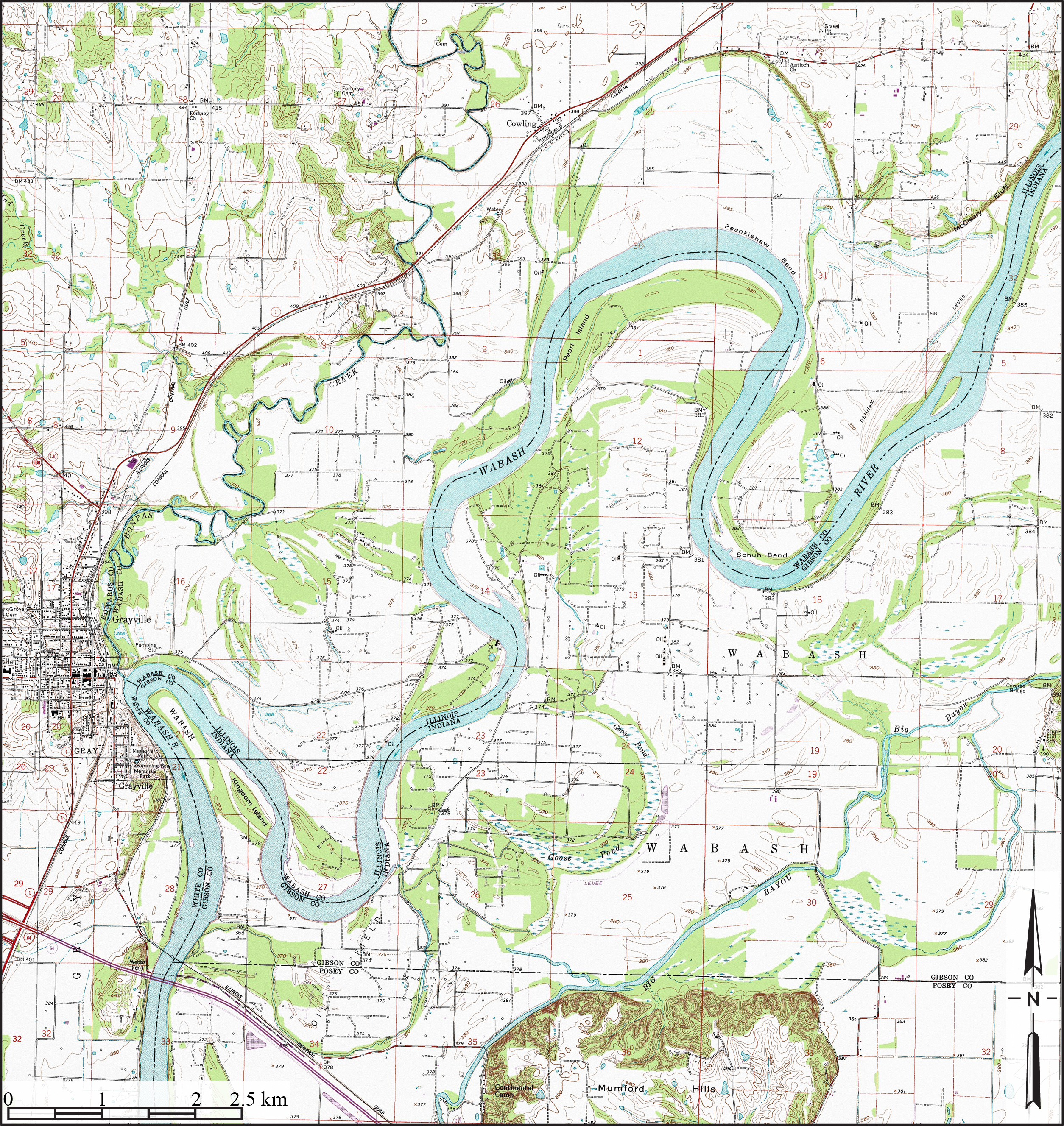 File Wabash River Meanders Grayville Illinois Topo Jpg Wikimedia