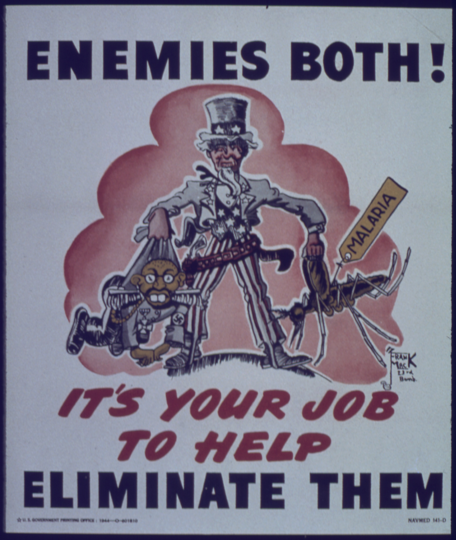 Un póster de 1944 del gobierno norteamericano que apunta como enemigos a los militares nazis y a los mosquitos causantes de la malaria