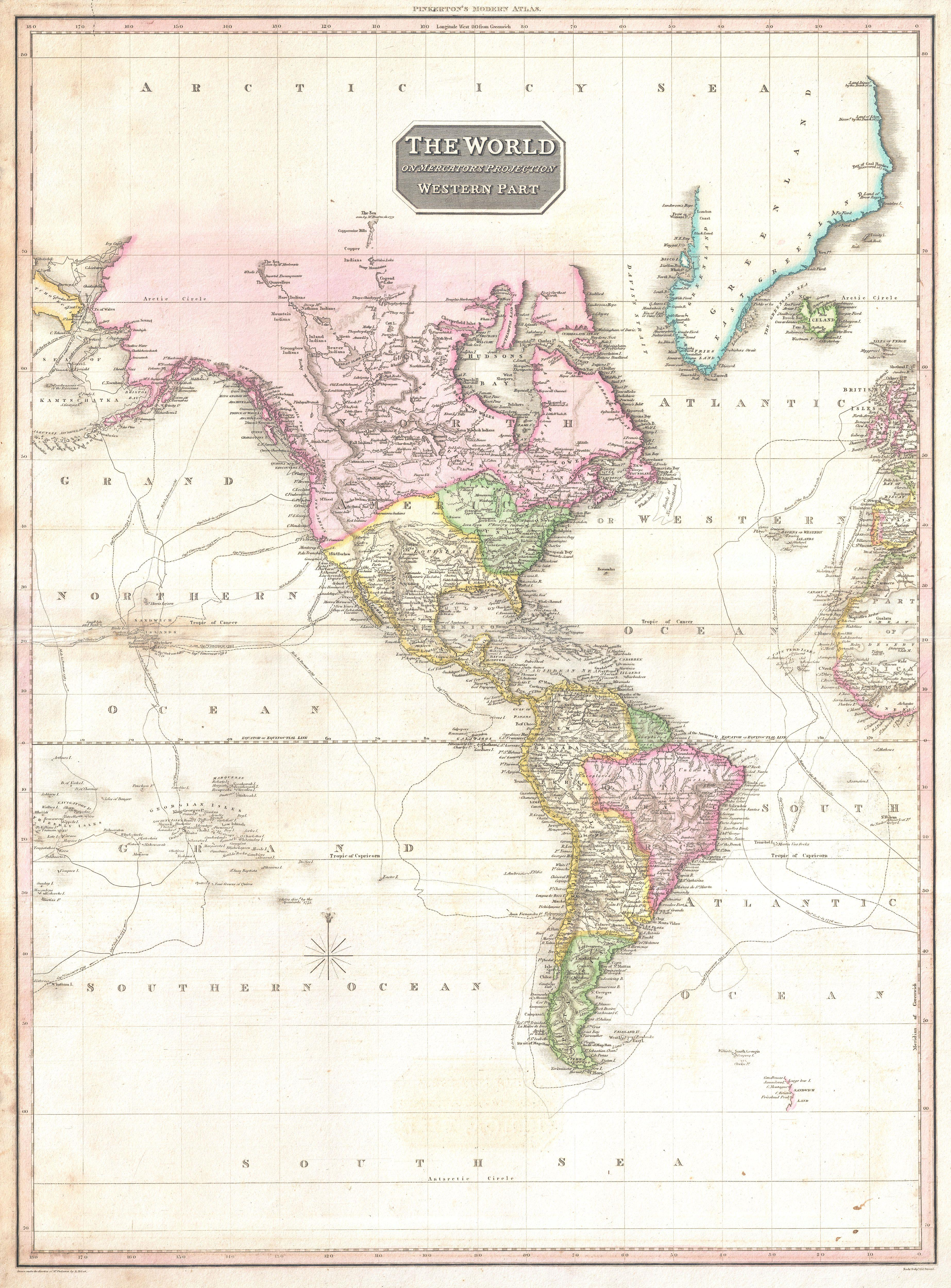 File:1818 Pinkerton Map of North America and South America ...