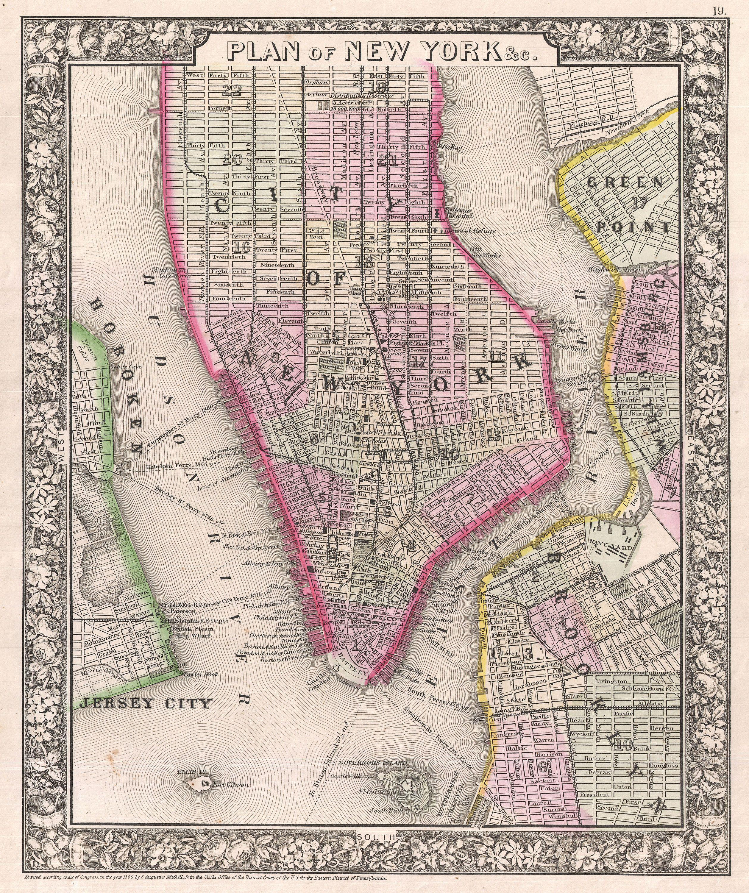 map of new york city streets with File 1866 Mitchell Map Of New York City And Brooklyn   Geographicus   Newyorkcity Mitchell 1866 on Map moreover Guia De Viaje De Nueva York Midtown Empire State moreover 405354995 also Stol Brooklyn Vit as well French Quarter Map.