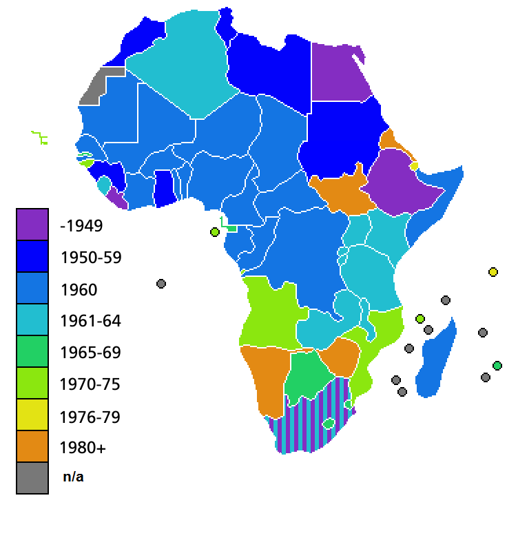 FileAfrica Independence DatesPNG Wikimedia Commons - What does this map tells us about african independence