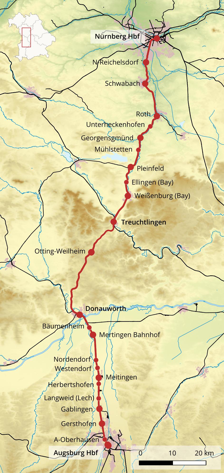Bahnstrecke Nürnbergaugsburg Wikipedia