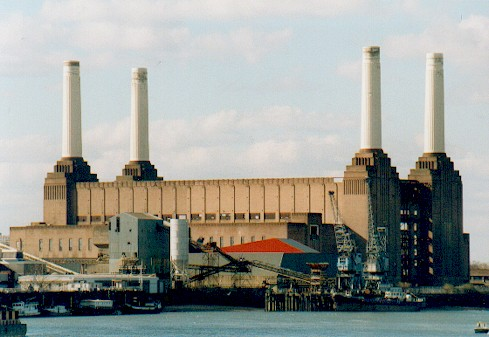 The giant Battersea Power Station, now defunct, on the banks of the ...