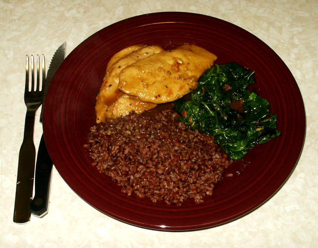File:Bhutanese red rice with chicken and spinach.jpg - Wikipedia ...